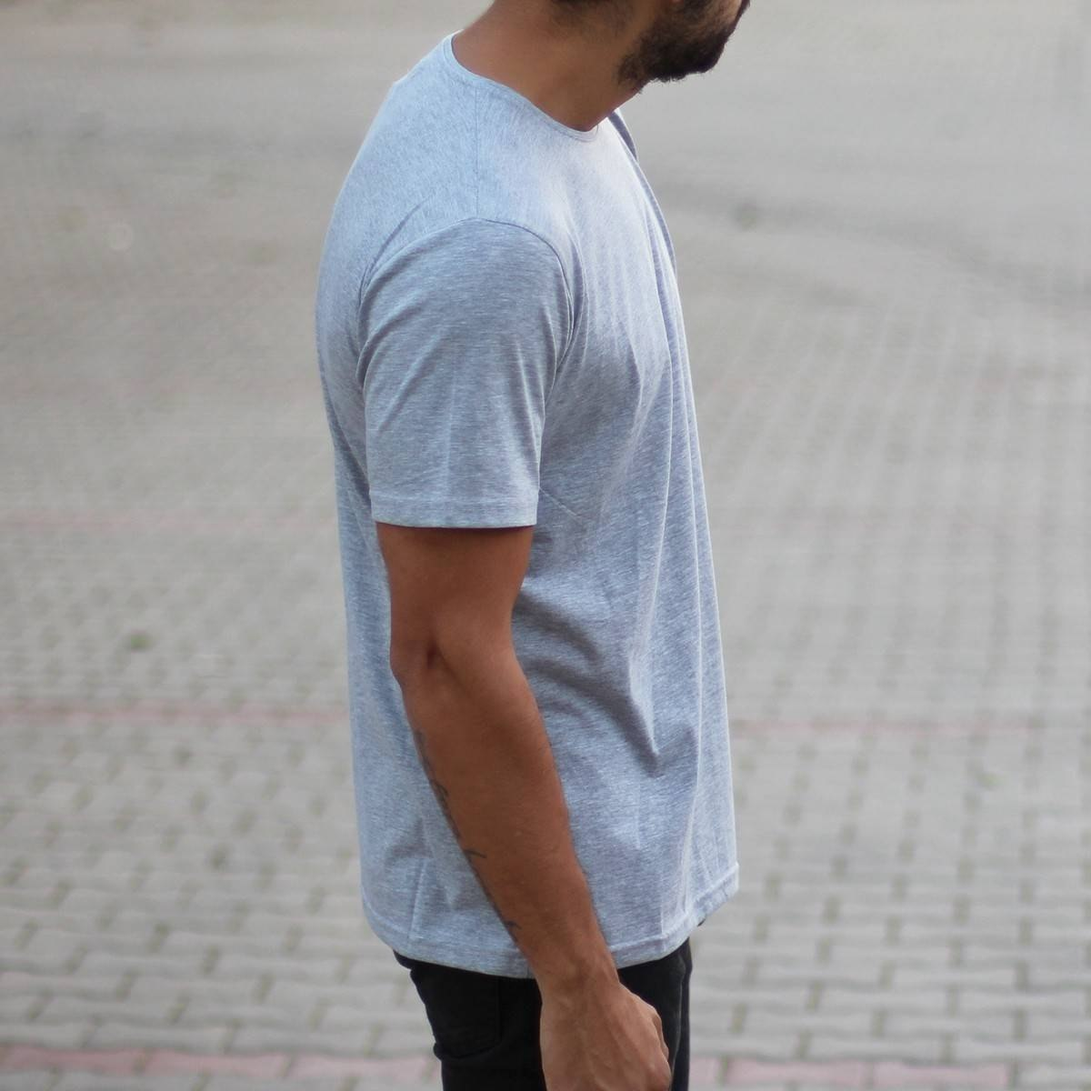 Men's Oversized Basic T-Shirt Gray Mv Premium Brand - 2