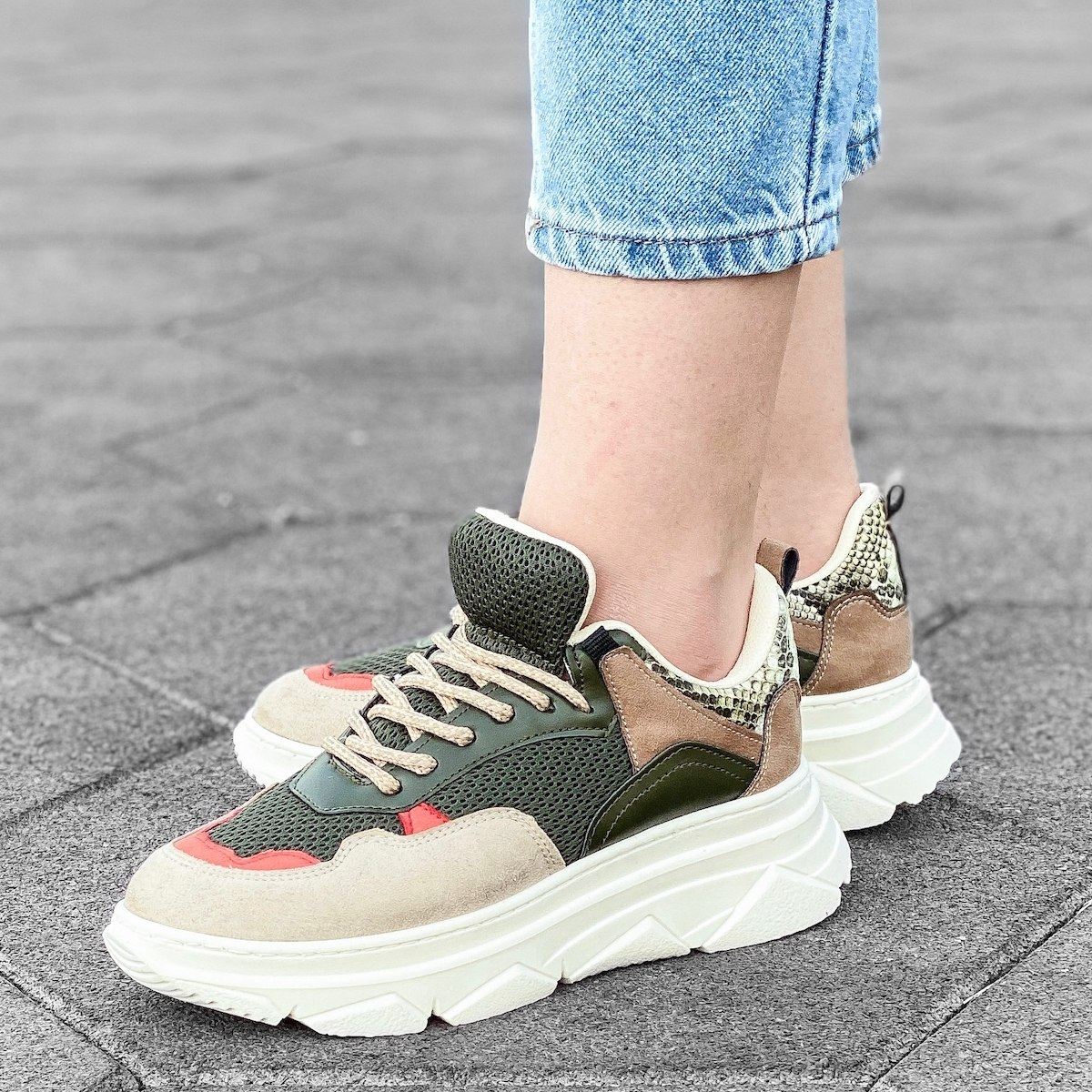 Women's Tri-Color High Sole Sneakers