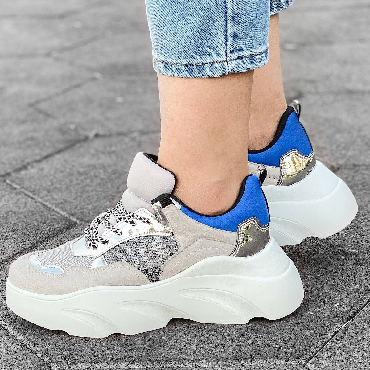 Women's Tri Color Space Sole Sneakers