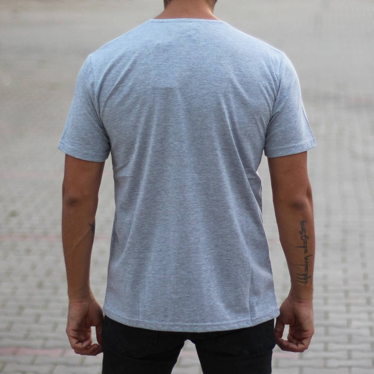 Men's Oversized Basic T-Shirt Gray Mv Premium Brand - 3