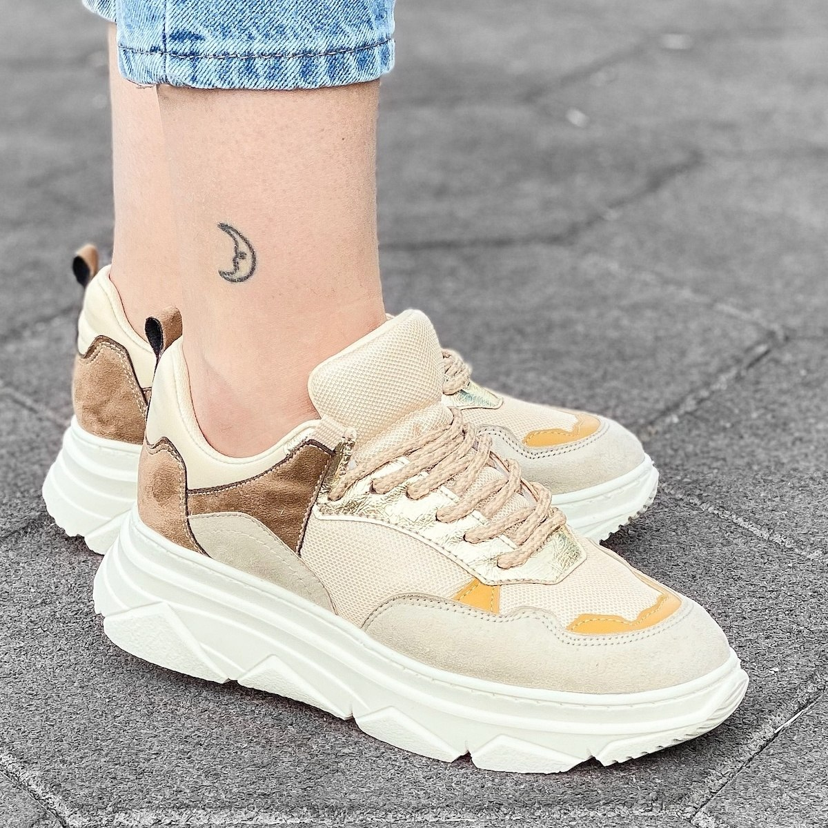 Women's High Sole Sneakers In Stone