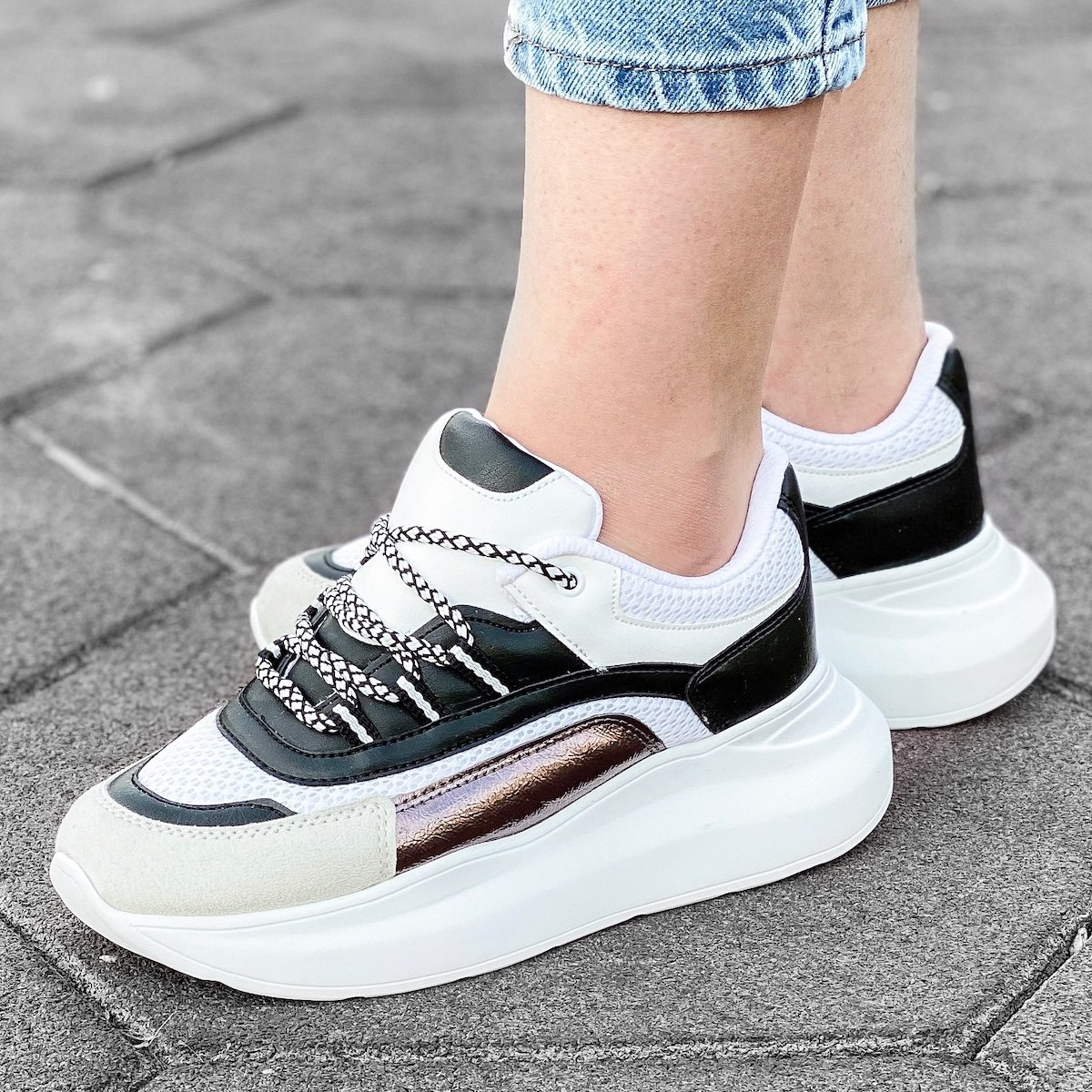 Women's Patchwork High Sole Sneakers