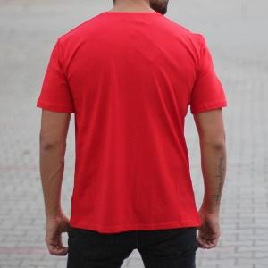Men's Oversized Basic T-Shirt Red Mv Premium Brand - 1