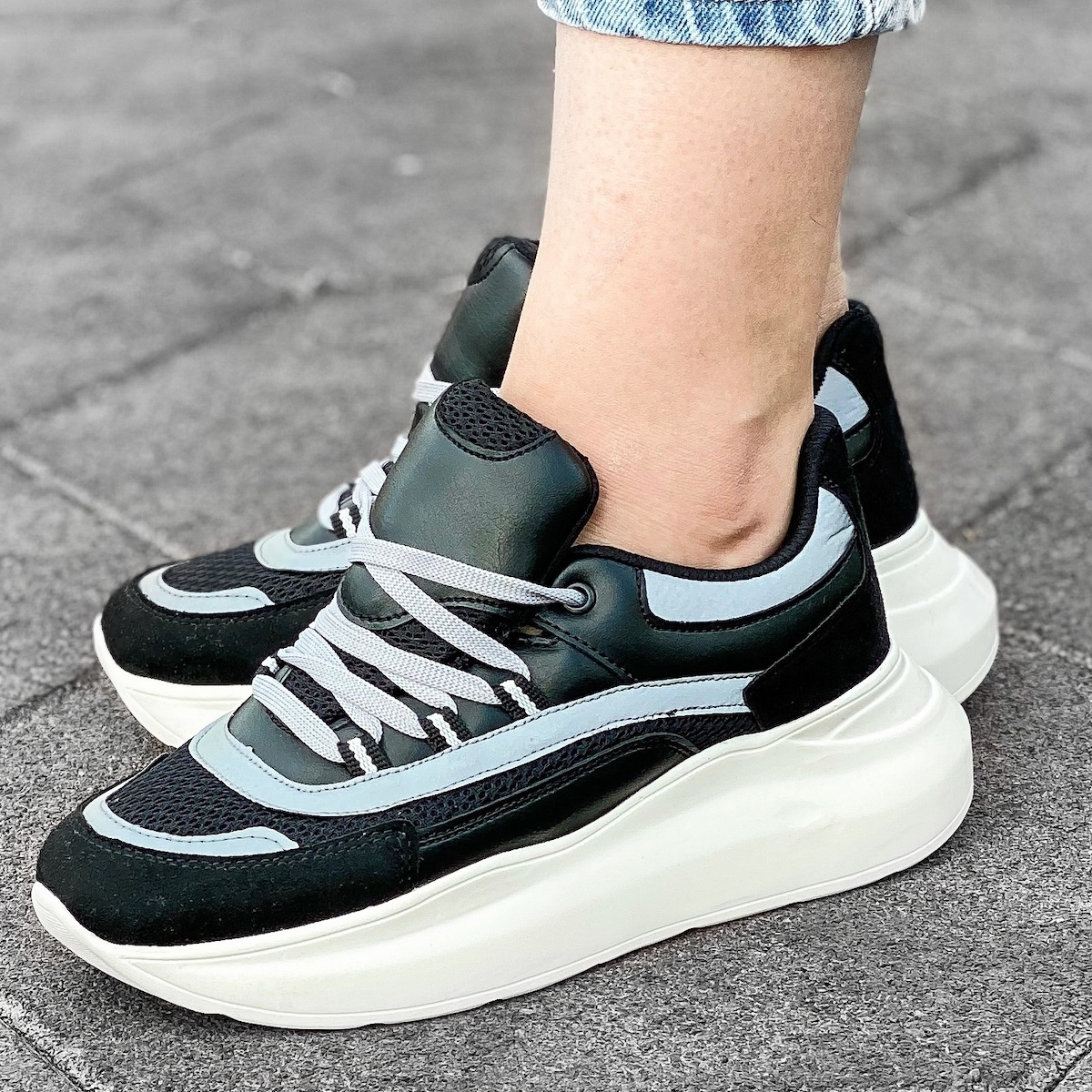 Women's Patchwork High Sole Sneakers In