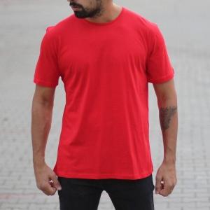 Men's Oversized Basic T-Shirt Red Mv Premium Brand - 2