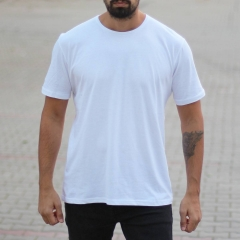 Men's Oversized Basic T-Shirt White Mv Premium Brand - 1