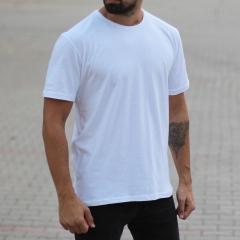 Men's Oversized Basic T-Shirt White Mv Premium Brand - 2