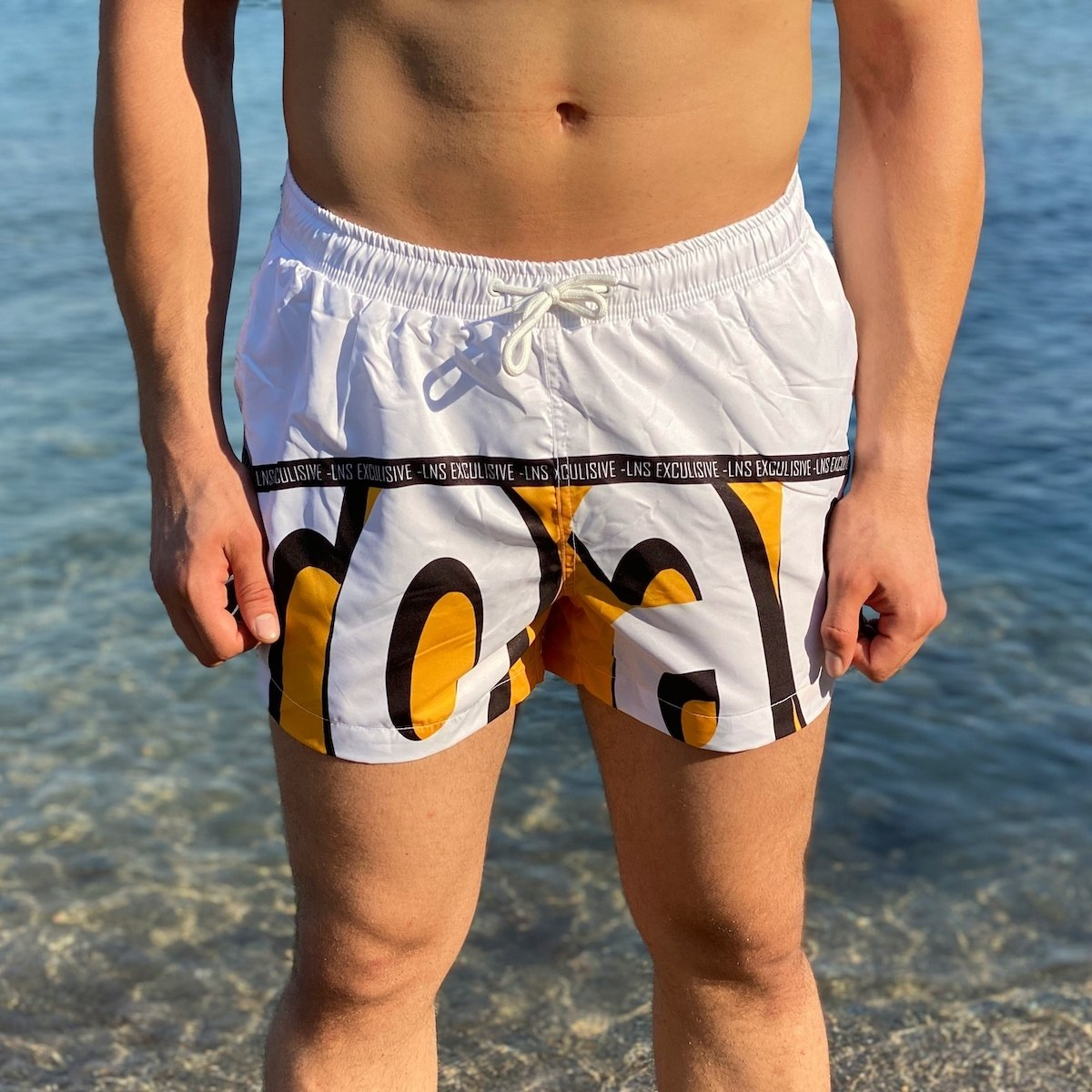 Men's Swimming Short With Text Detail