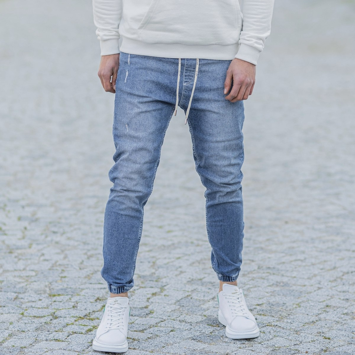 Men's Denim Joggers In Blue
