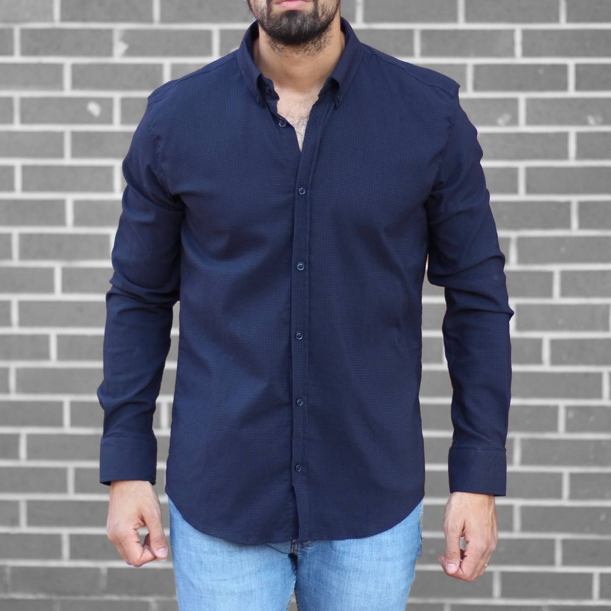 Men's Stylish Lycra Shirt In Navy Blue