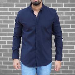 Men's Stylish Lycra Shirt In Navy Blue Mv Premium Brand - 1
