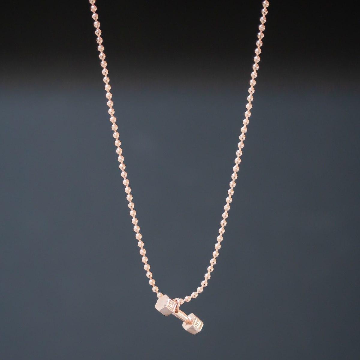 Men's Dumbbell Necklace Gold
