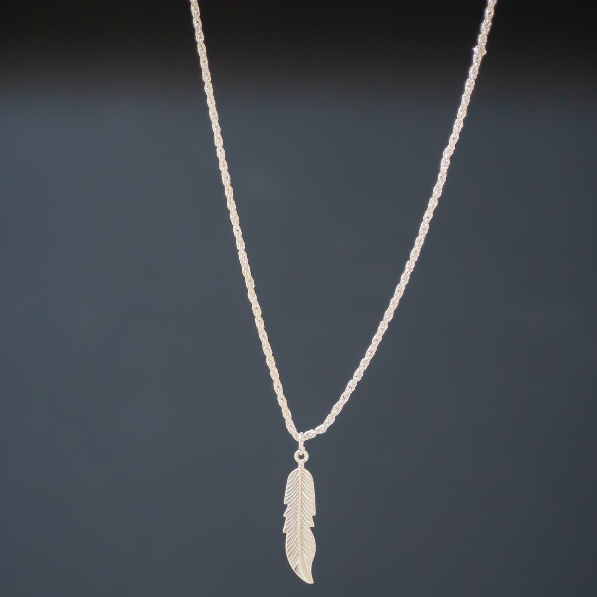 Men's Silver Feather Necklace
