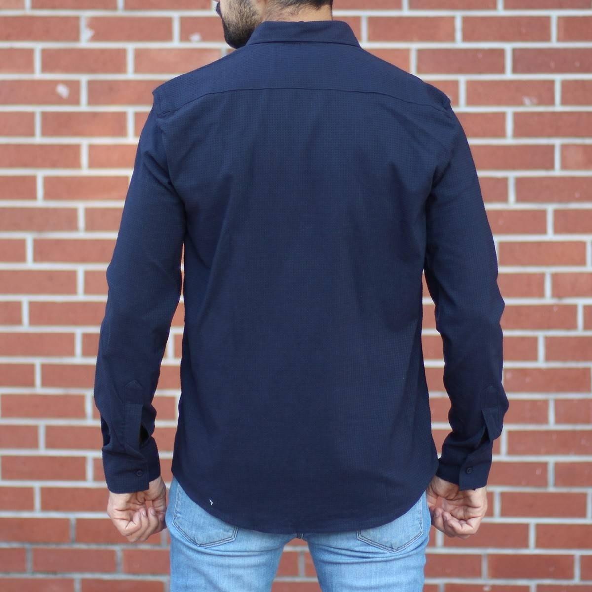 Men's Stylish Lycra Shirt In Navy Blue Mv Premium Brand - 2