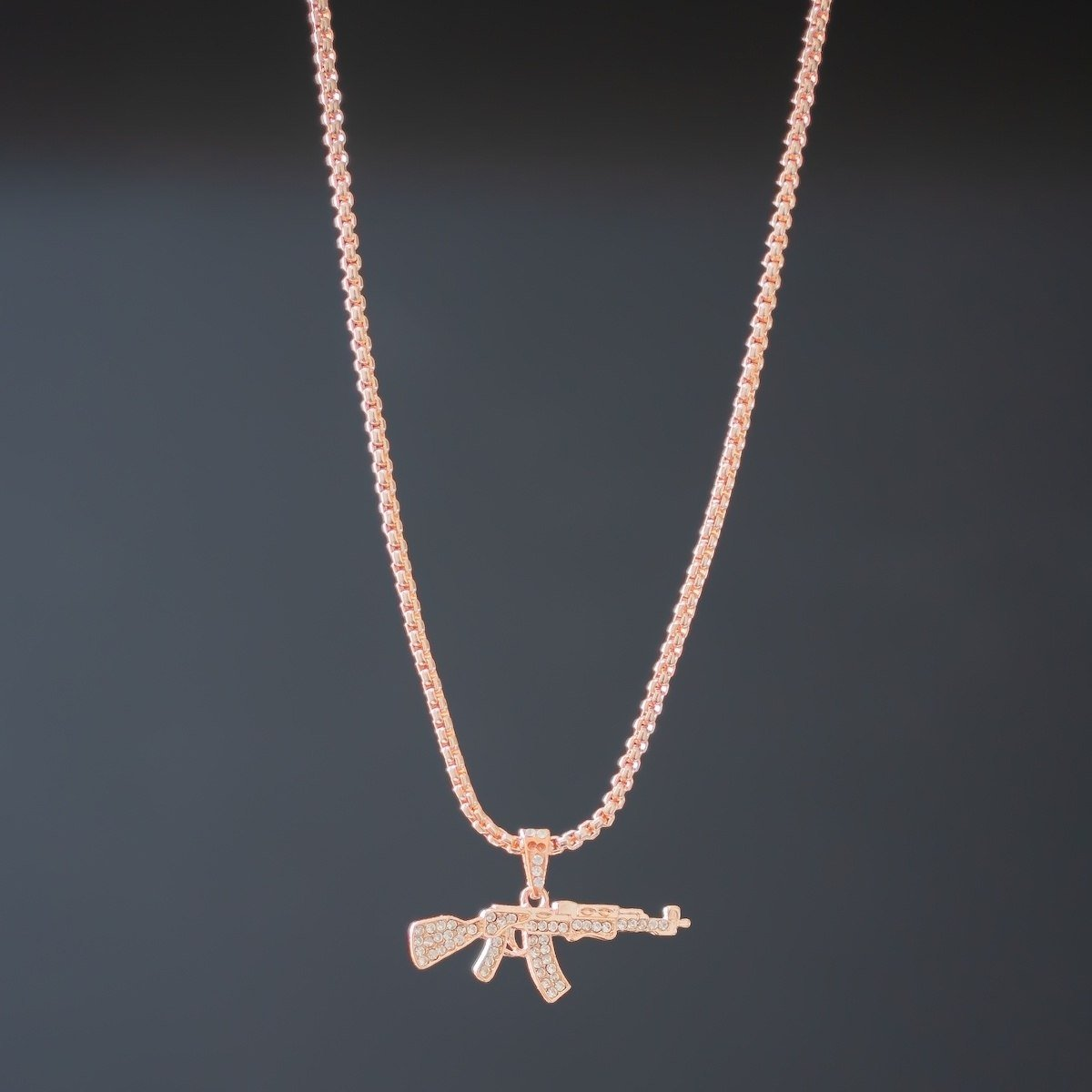 Men's AK-47 Rose Gold Necklace