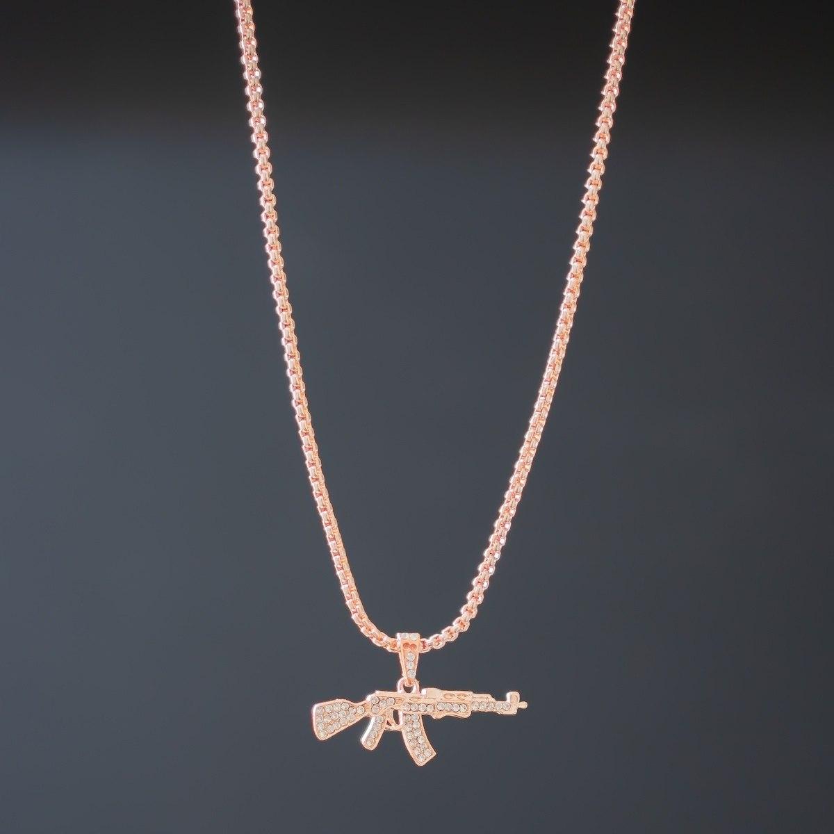 Men's AK-47 Rose Gold Necklace