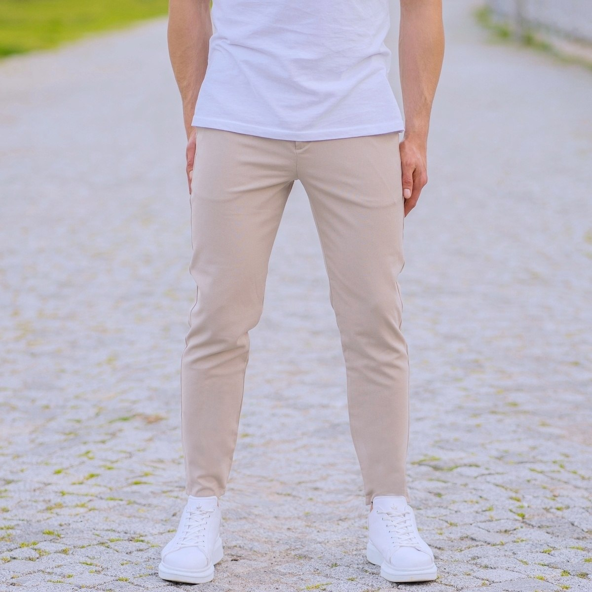 Cream Slim-Fit Trousers