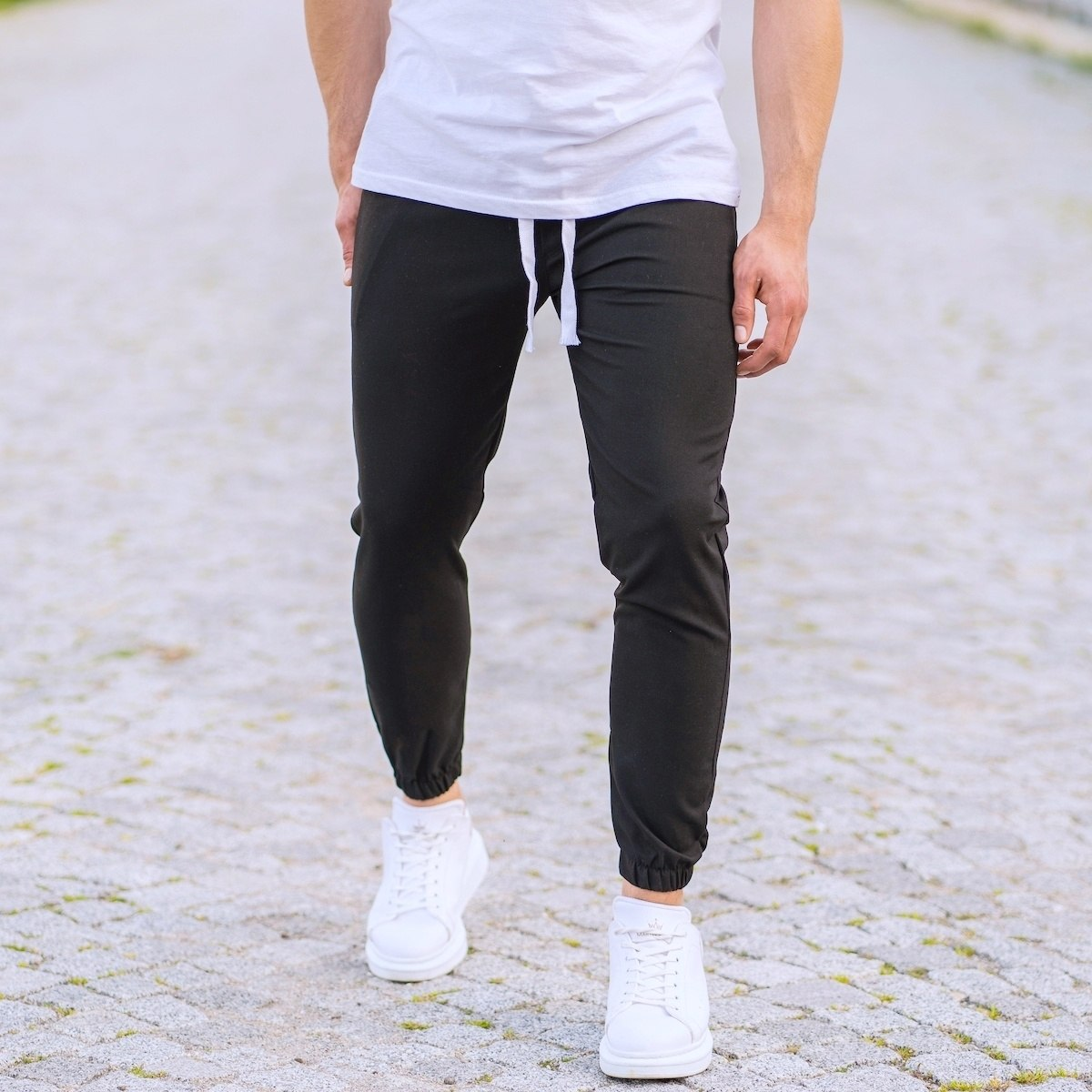 Men's Basic Elasticated Sport Pants Solid Black