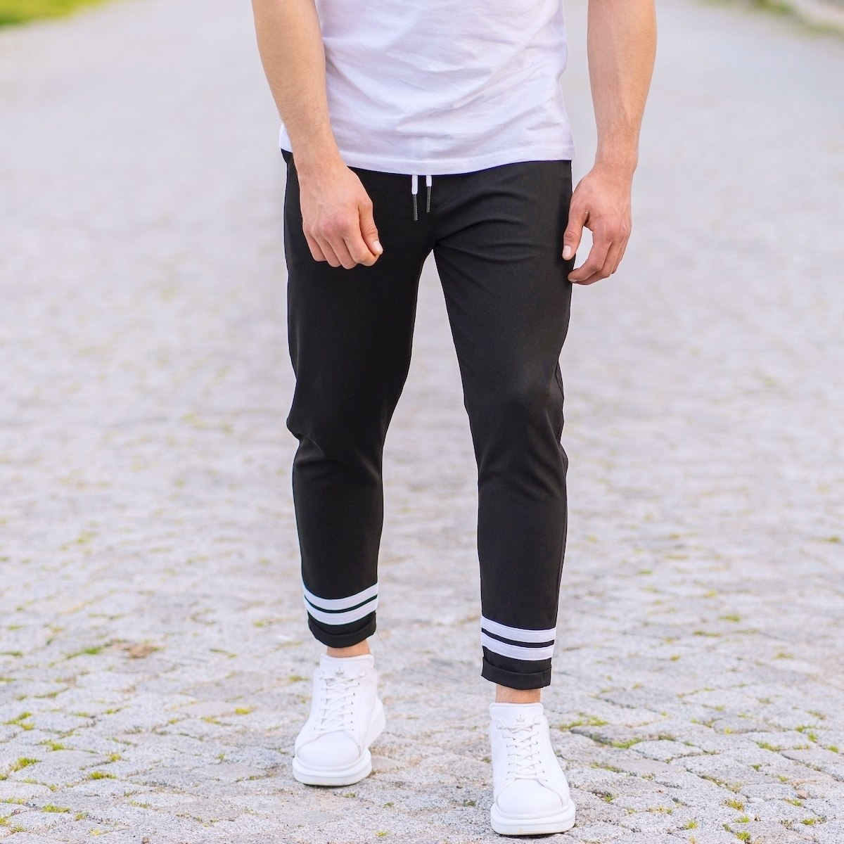 Double-Striped Jogger Trousers In Black
