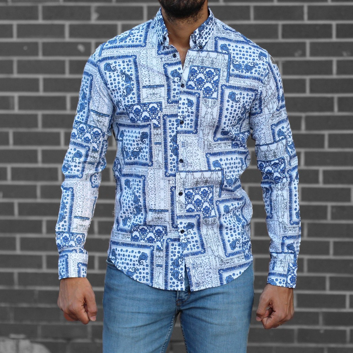 Men's Lycra Blue&White Pattern Shirt Mv Premium Brand - 1