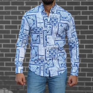 Men's Lycra Blue&White Pattern Shirt Mv Premium Brand - 1