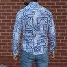 Men's Lycra Blue&White Pattern Shirt Mv Premium Brand - 2