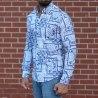 Men's Lycra Blue&White Pattern Shirt Mv Premium Brand - 3
