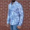 Men's Lycra Blue&White Pattern Shirt Mv Premium Brand - 3