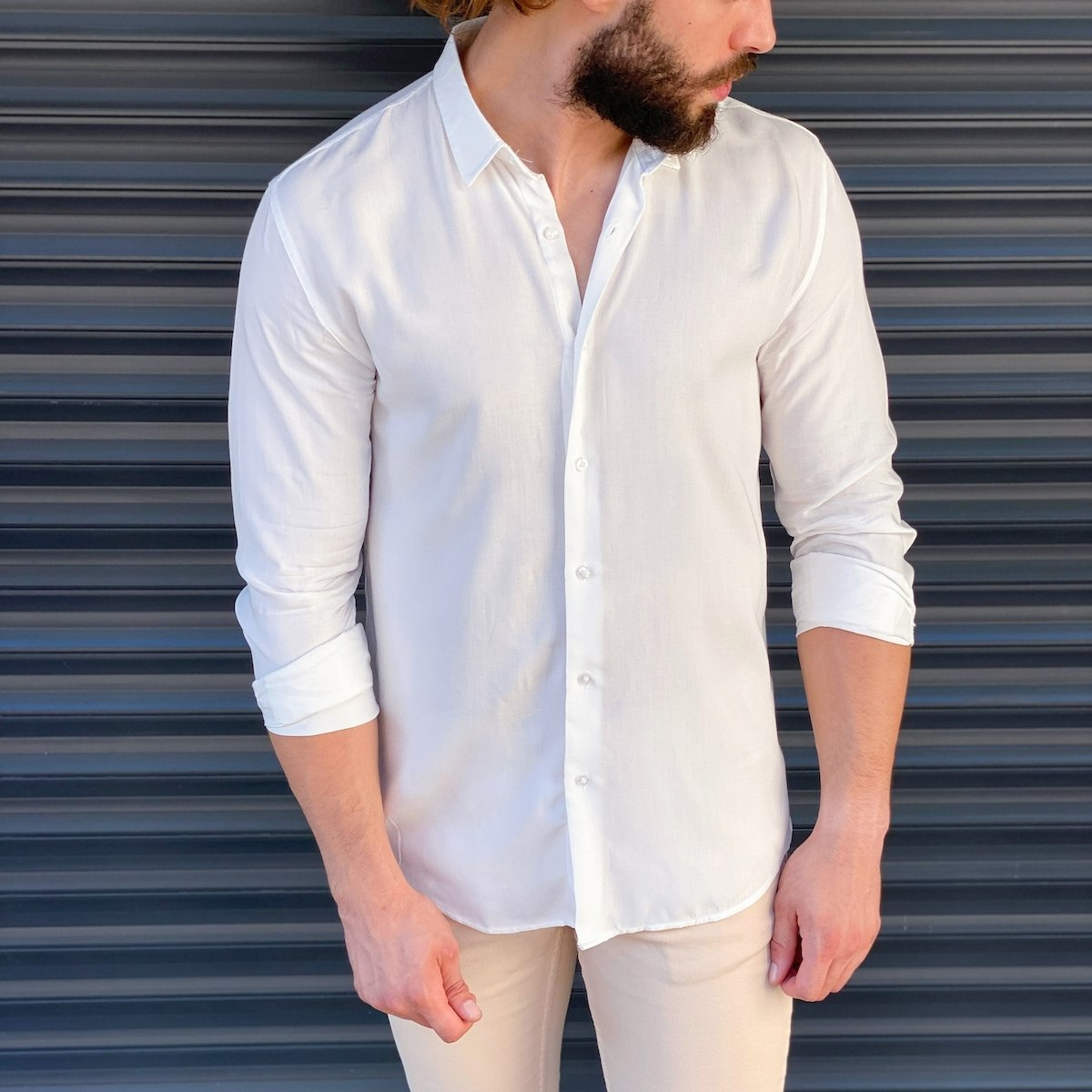 Herren Basic Hemd in weiß