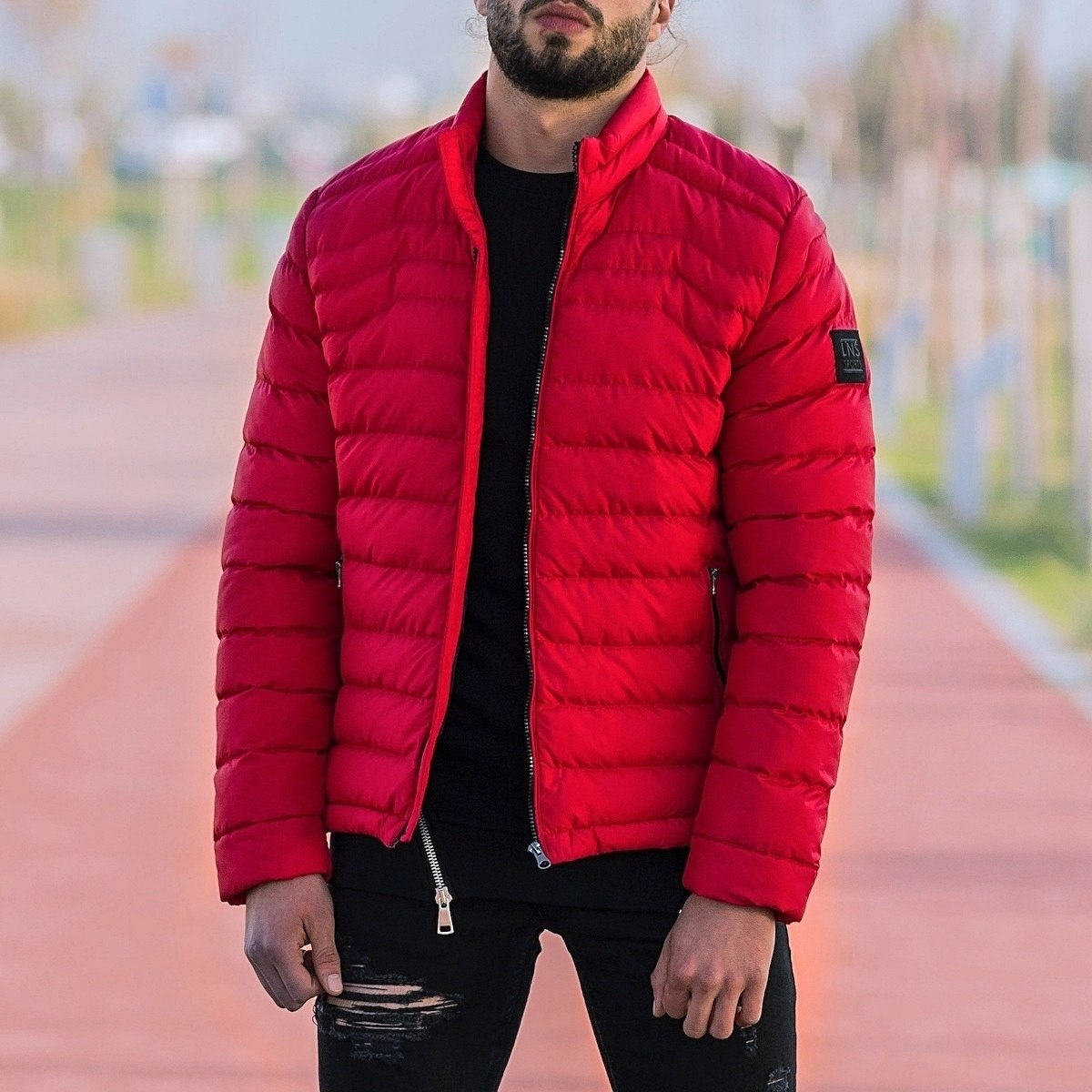 Men's Puffer Jacket In Red