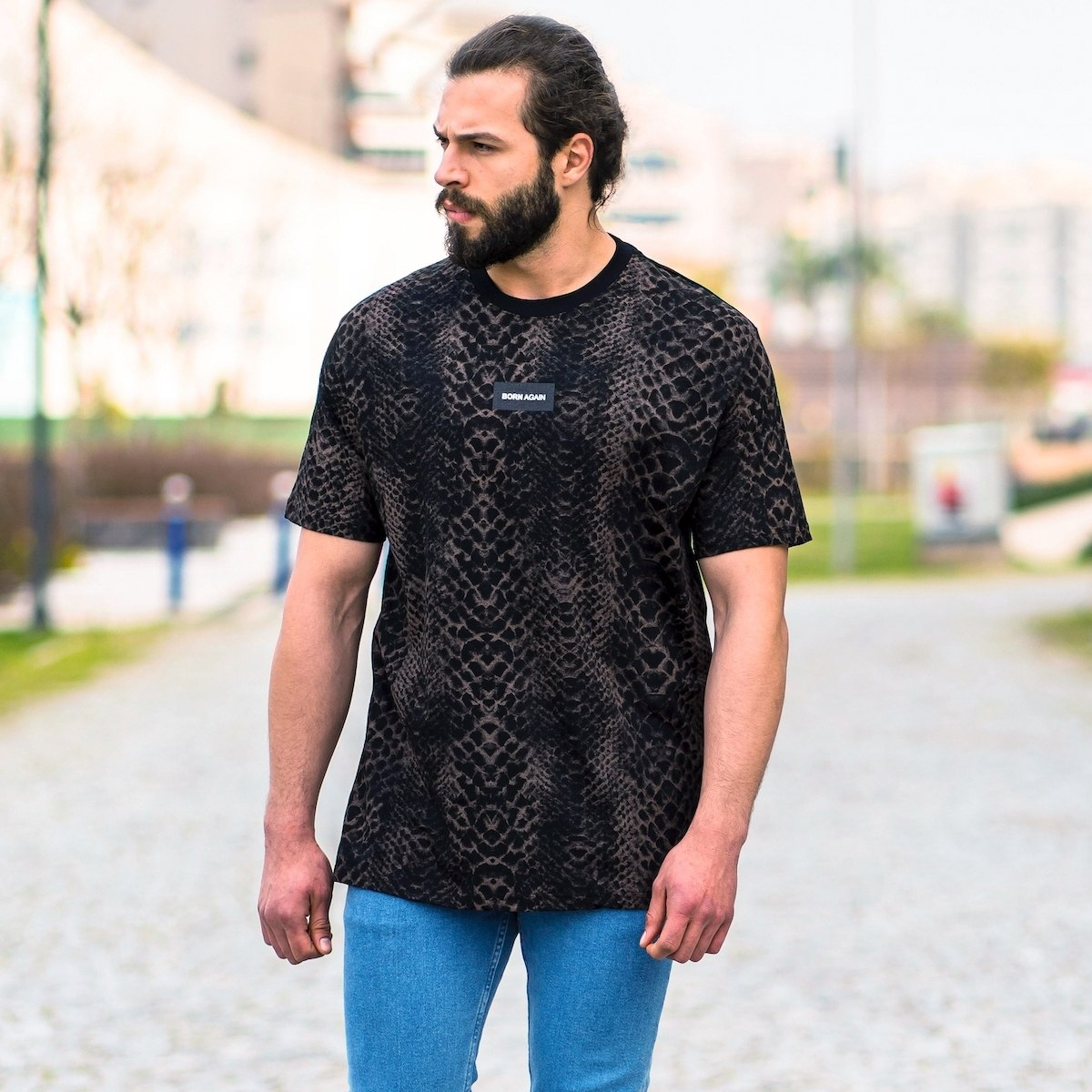 """Born Again"" Panther Patterned Oversize T-Shirt"
