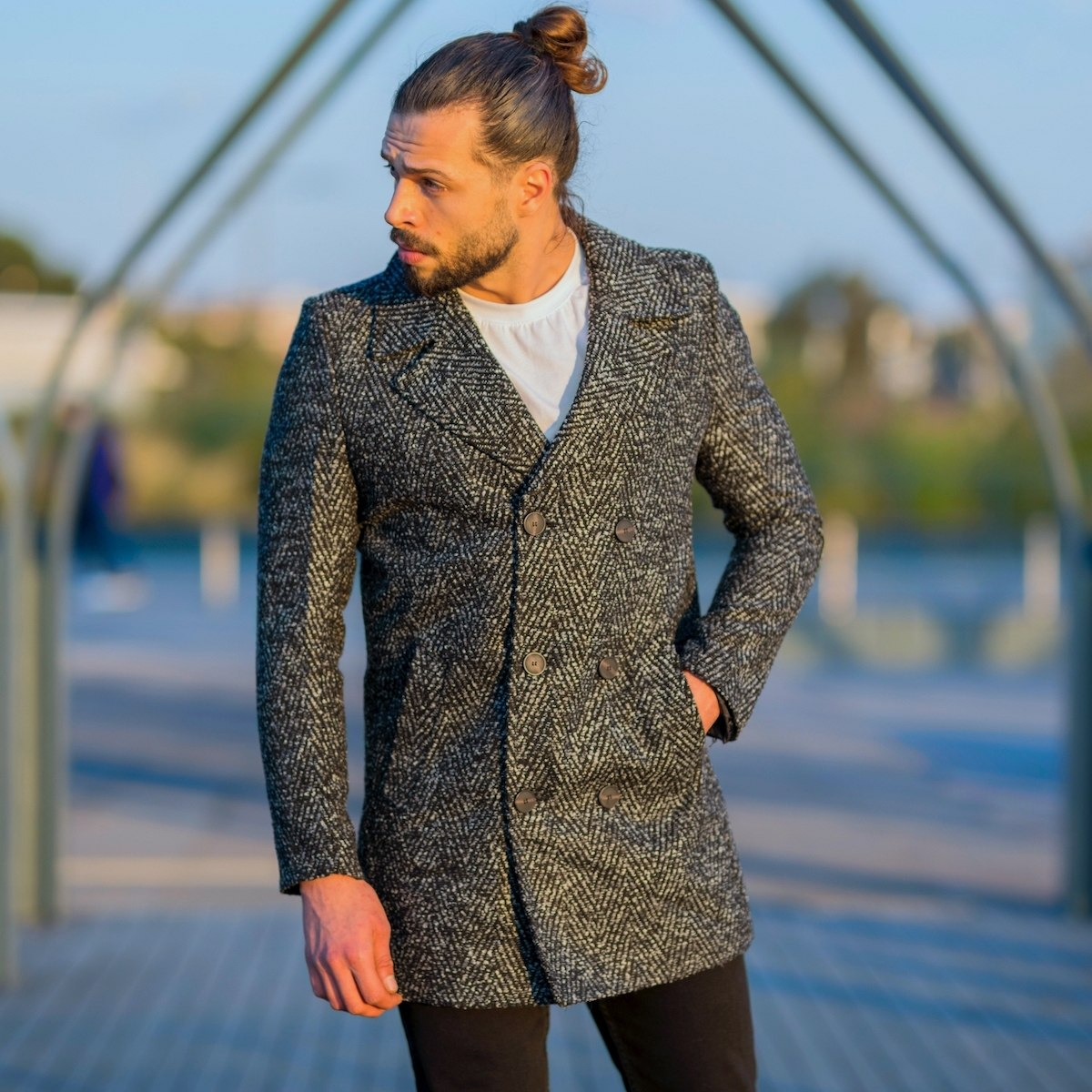 Men's Hoary Double Breasted Coat In Gray