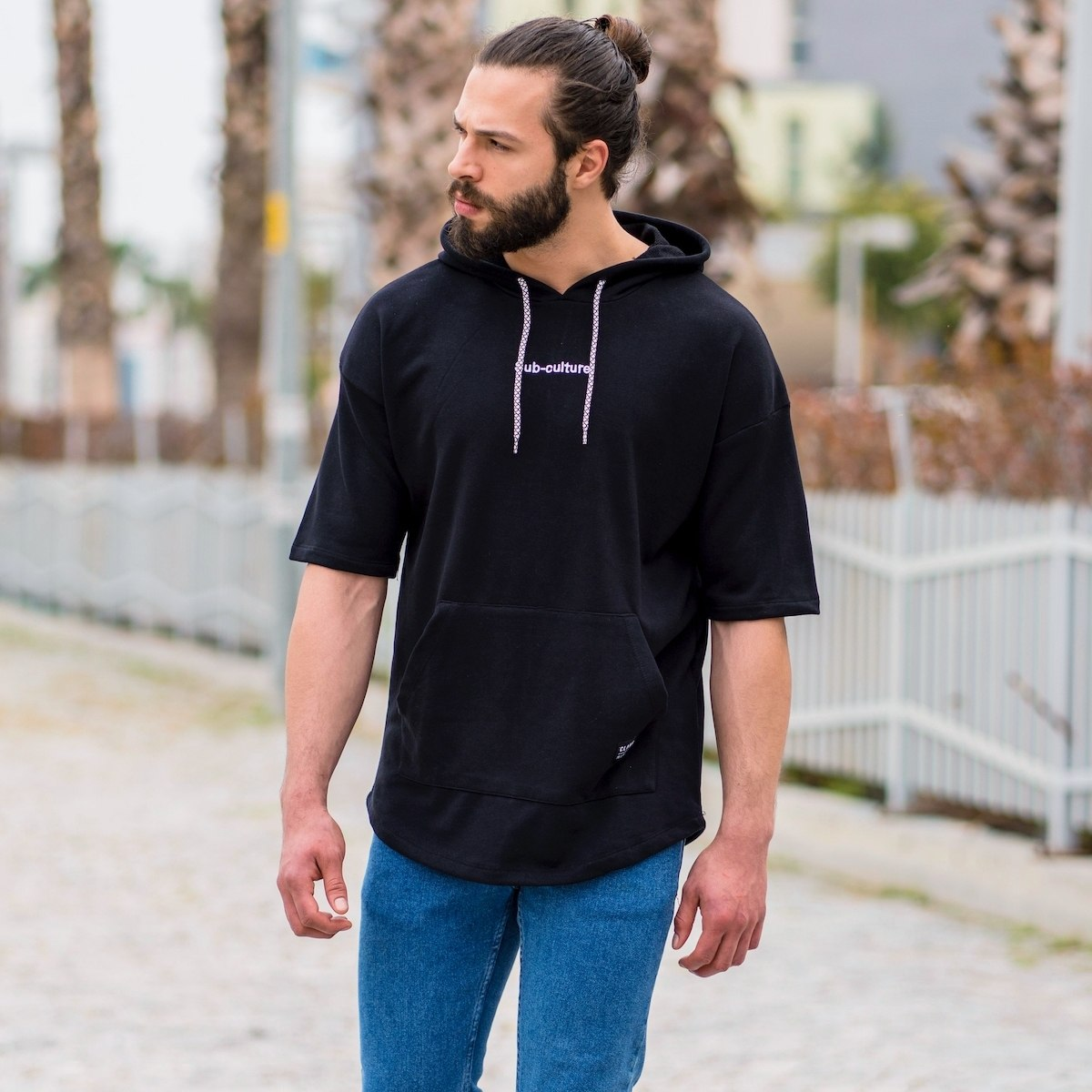 """Men's """"Sub-Culture"""" Half-Sleeved Hoodie In Black"""