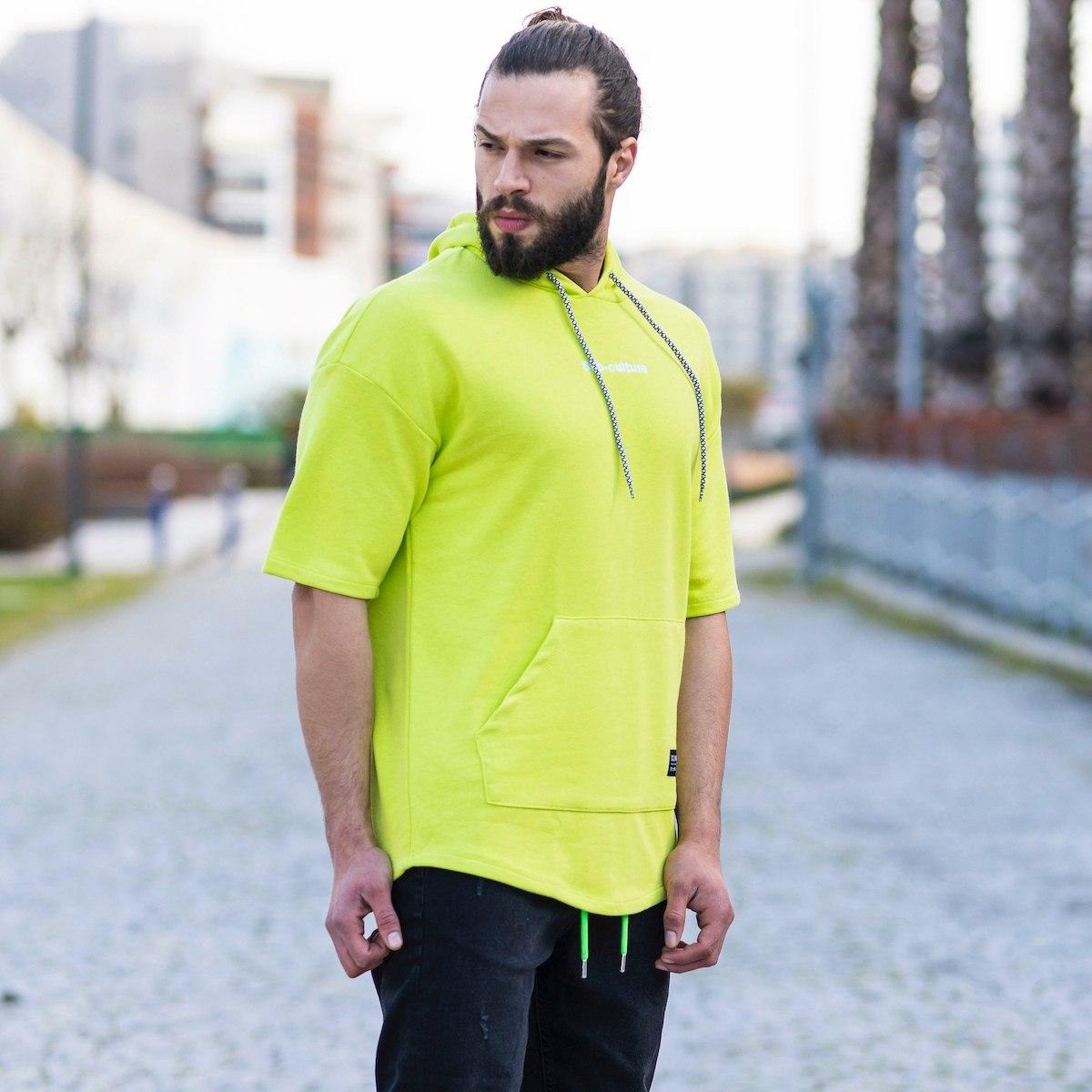 "Men's ""Sub-Culture"" Half-Sleeved Hoodie In Neon Green"