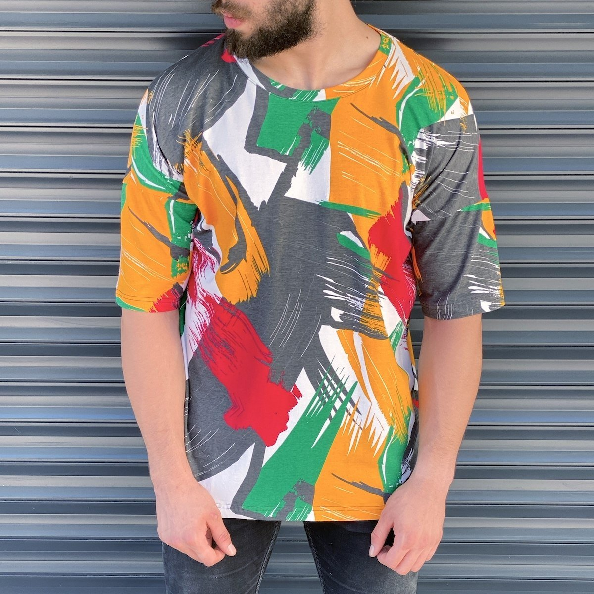 Men's Abstract Painted T-Shırt