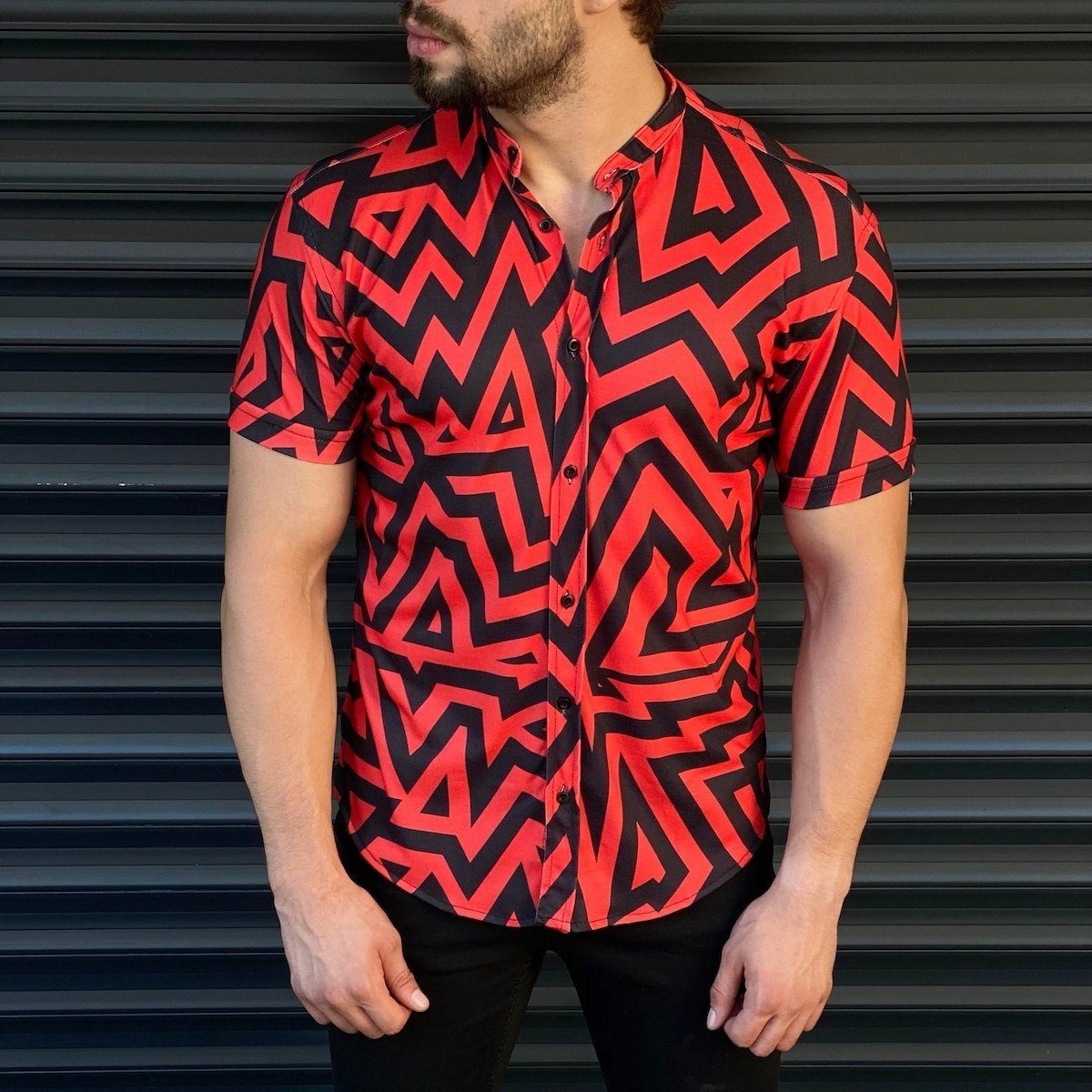 Men's Short Sleeved Summer Shirt In Red