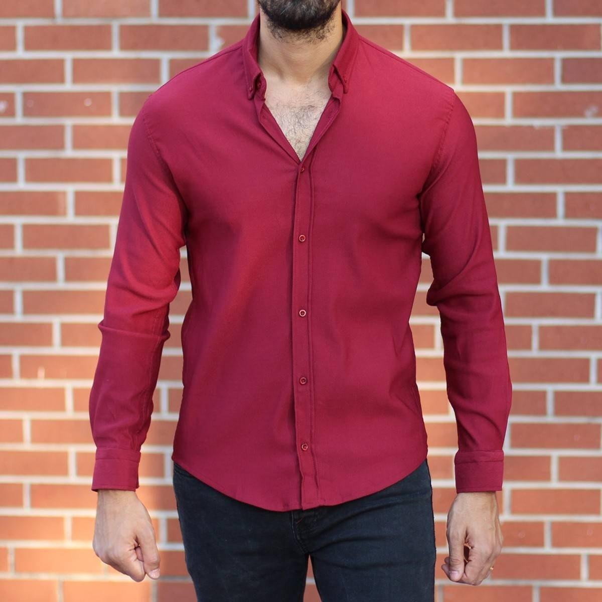 Men's Stylish Lycra Shirt In Red Mv Premium Brand - 1