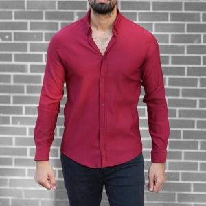 Men's Stylish Lycra Shirt In Red Mv Premium Brand - 2