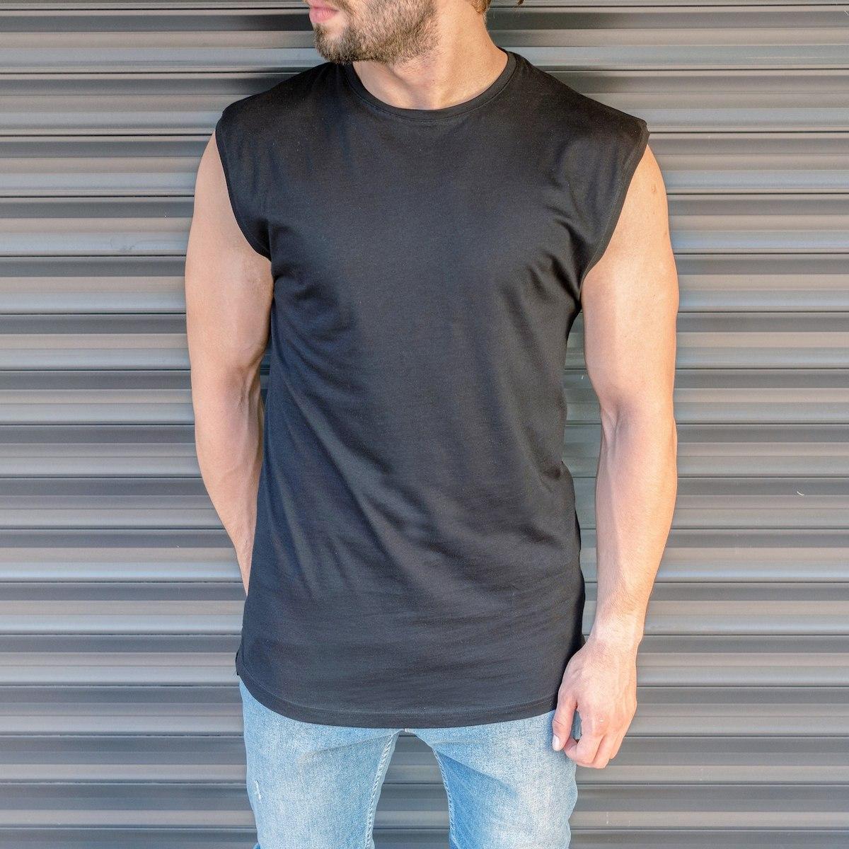 Men's Basic Sleeveless T-Shirt In Black