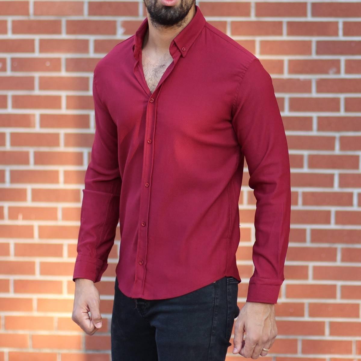 Men's Stylish Lycra Shirt In Red Mv Premium Brand - 3