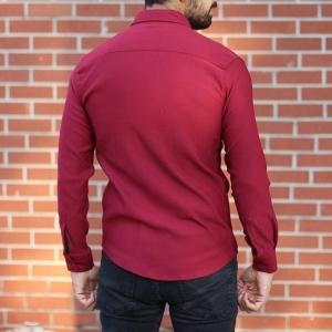 Men's Stylish Lycra Shirt In Red Mv Premium Brand - 4
