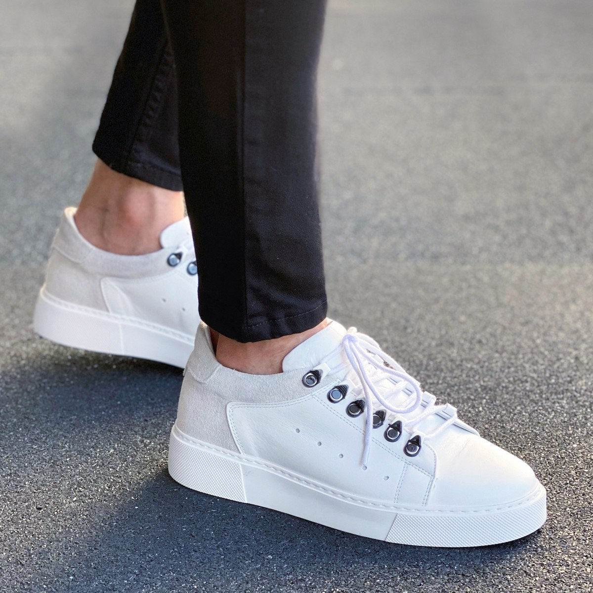 Premium Leather Sneakers In Beige-White
