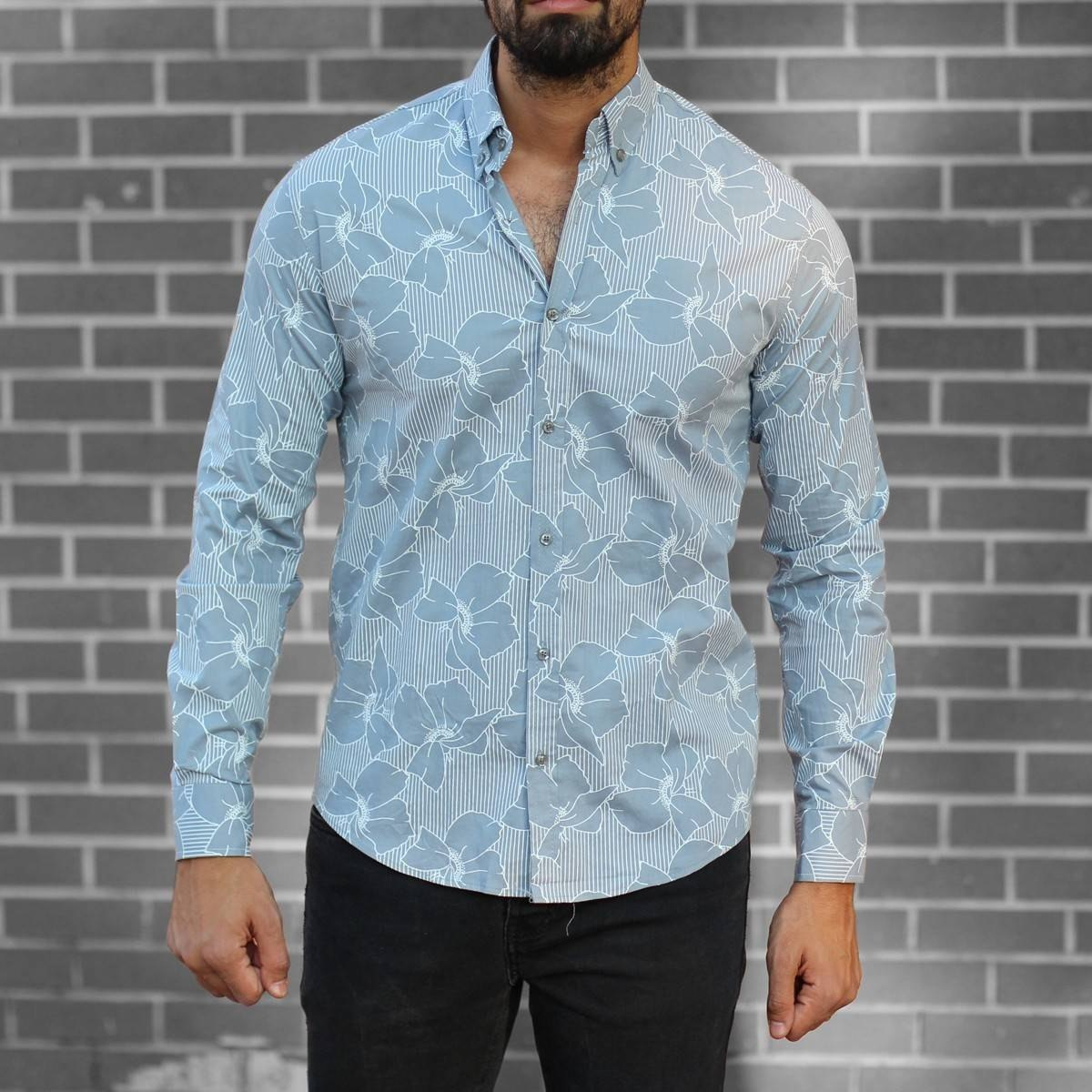 Men's Lyrca Blue&White Striped Shirt Mv Premium Brand - 1