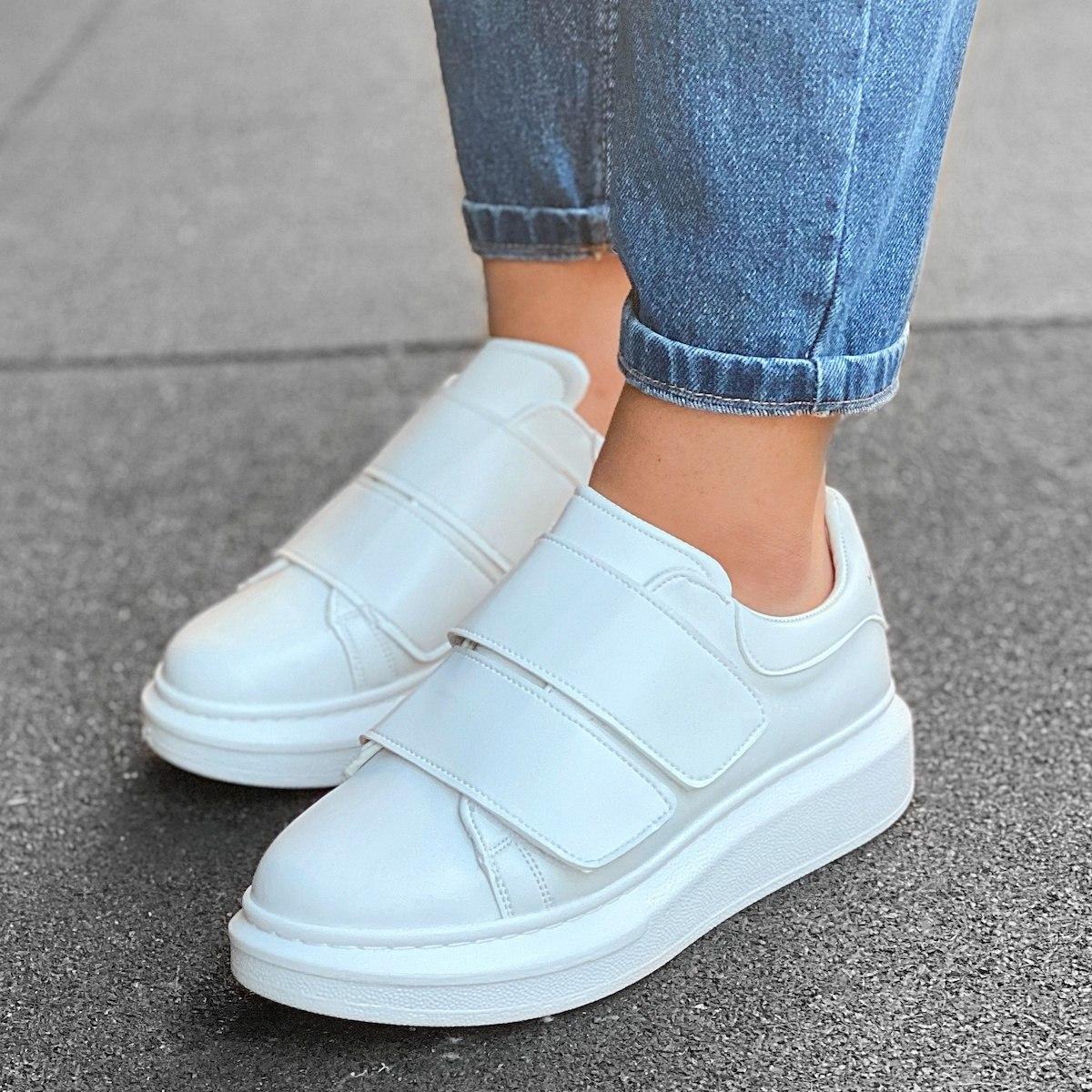 Martin Valen Women's Double Velcro Sneakers Full White
