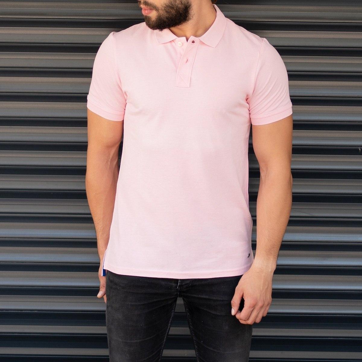 Men's Classic Slim Fit Longline Polo T-Shirt Pink