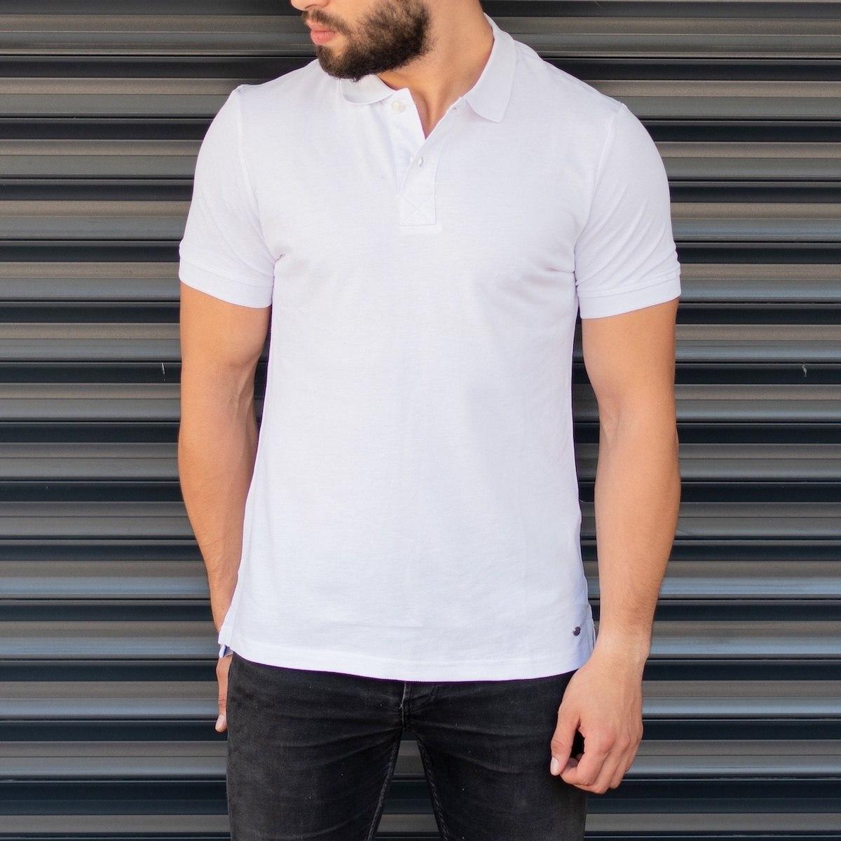 Herren Slim-Fit Polo Shirt mit langem Schnitt in weiß