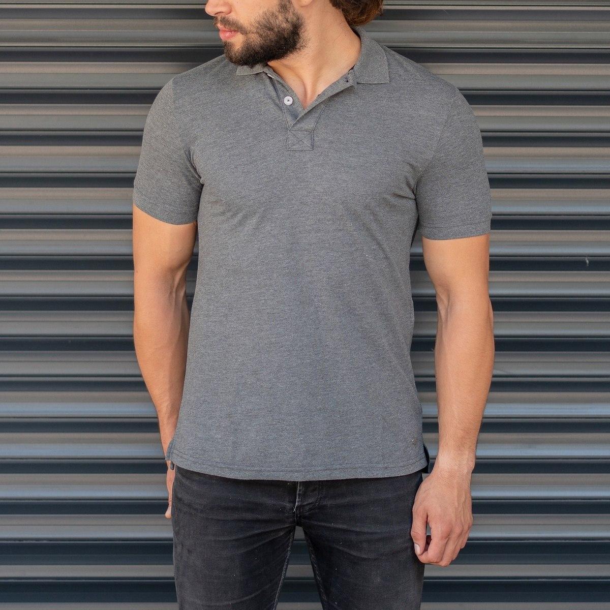 Men's Classic Slim Fit Longline Polo T-Shirt Gray