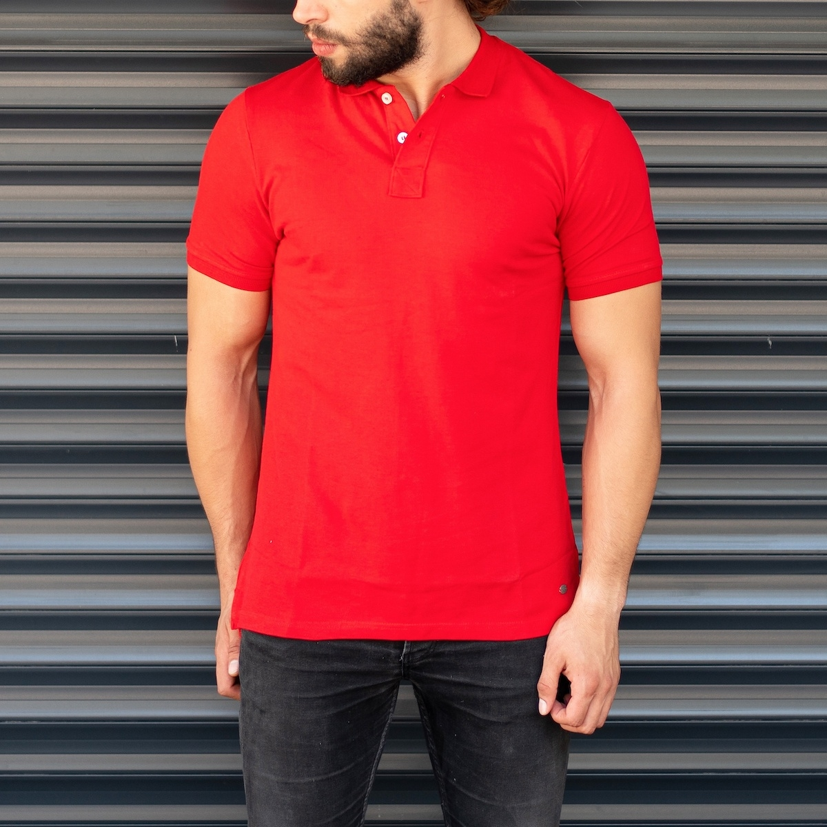 Men's Classic Slim Fit Longline Polo T-Shirt Red