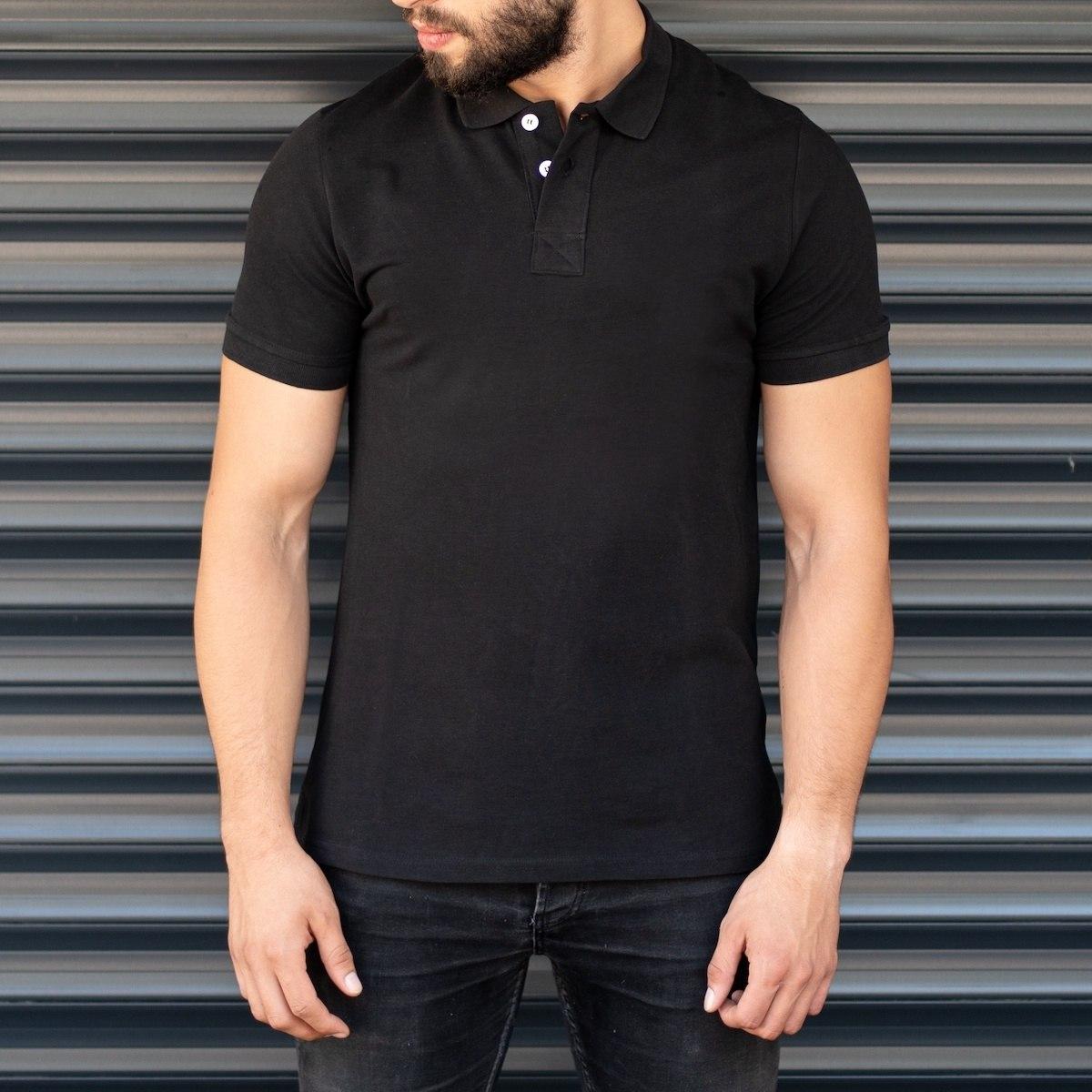 Men's Regular Longline Polo T-Shirt Black