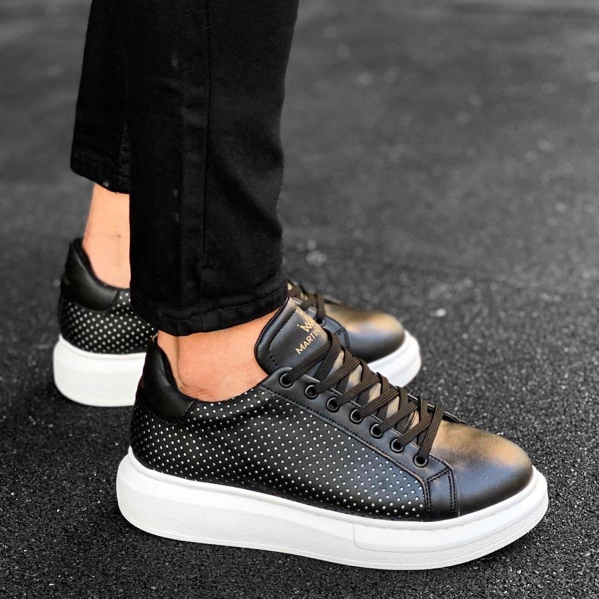 Mega Side-Mesh Sneakers in Black-White
